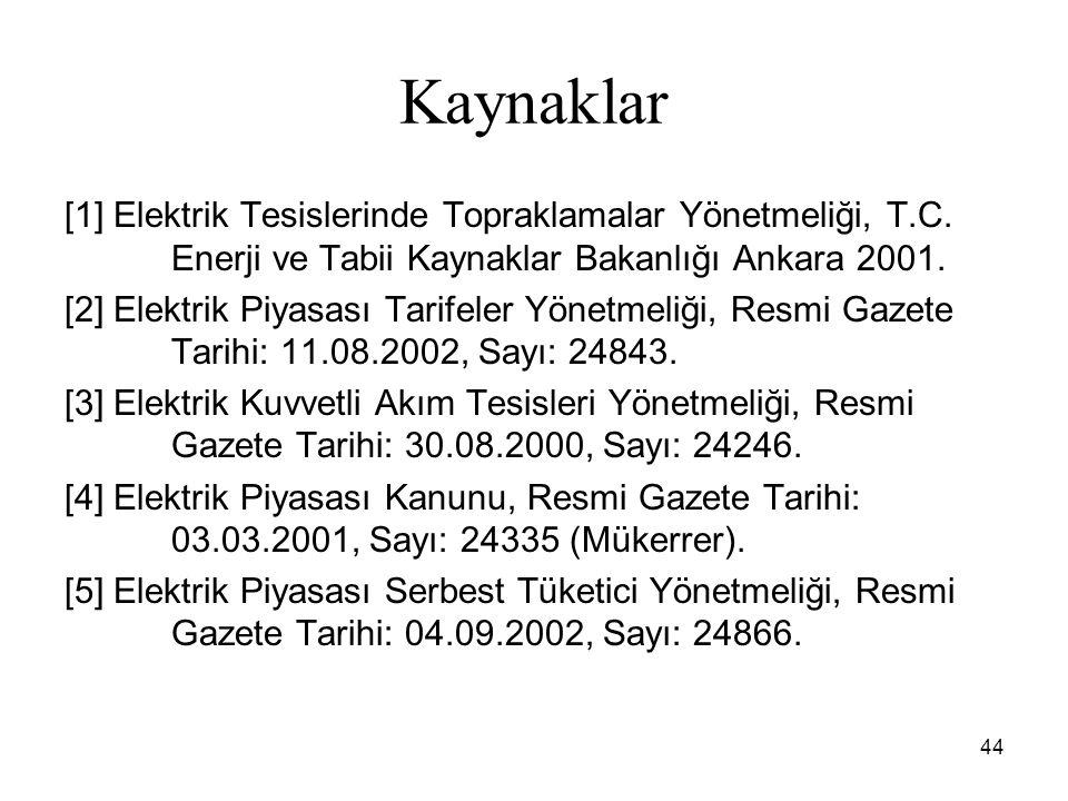 Kaynaklar [1] Elektrik Tesislerinde Topraklamalar Yönetmeliği, T.C. Enerji ve Tabii Kaynaklar Bakanlığı Ankara 2001.